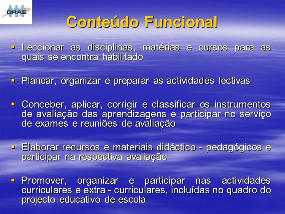 Conteúdo Funcional Leccionar as disciplinas, matérias e cursos para as quais se encontra habilitado.