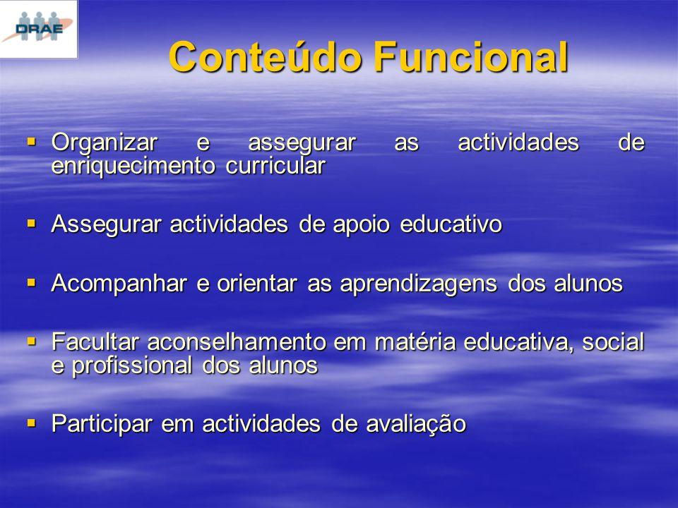 Conteúdo Funcional Organizar e assegurar as actividades de enriquecimento curricular. Assegurar actividades de apoio educativo.