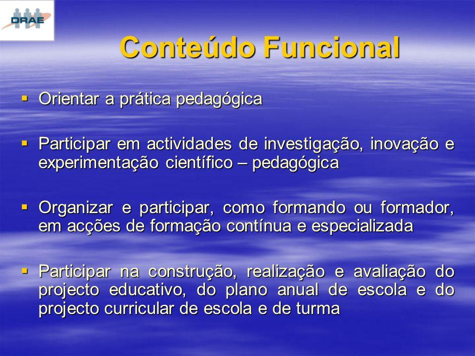 Conteúdo Funcional Orientar a prática pedagógica