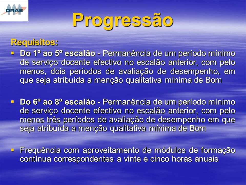 Progressão Requisitos: