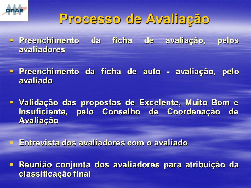 Processo de Avaliação Preenchimento da ficha de avaliação, pelos avaliadores. Preenchimento da ficha de auto - avaliação, pelo avaliado.