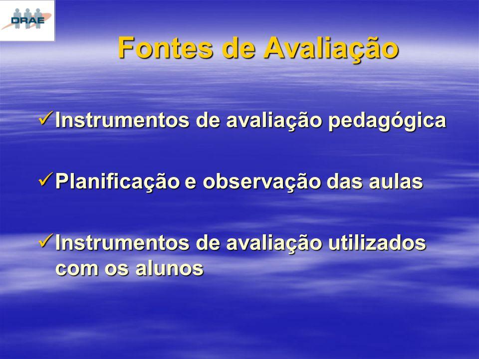 Fontes de Avaliação Instrumentos de avaliação pedagógica