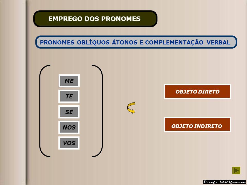 PRONOMES OBLÍQUOS ÁTONOS E COMPLEMENTAÇÃO VERBAL