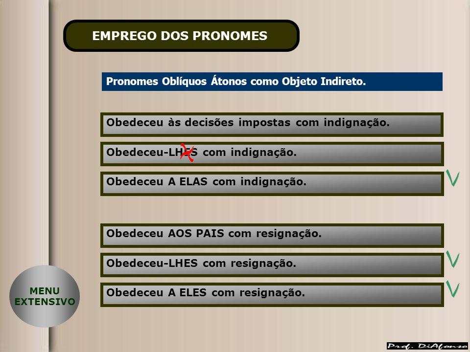 EMPREGO DOS PRONOMES Pronomes Oblíquos Átonos como Objeto Indireto.