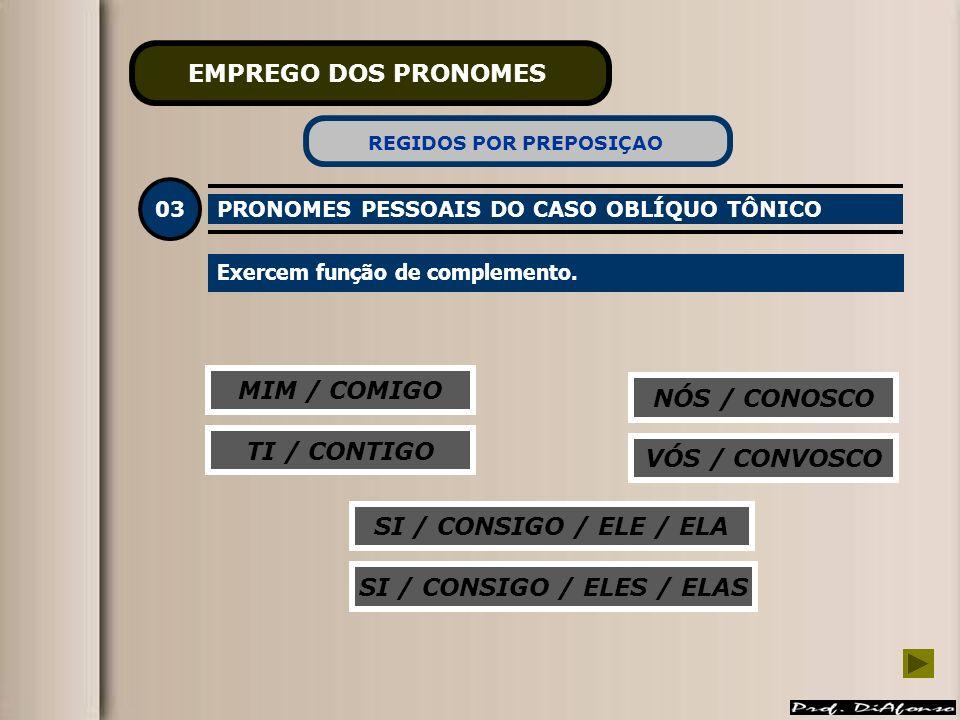 REGIDOS POR PREPOSIÇAO SI / CONSIGO / ELES / ELAS