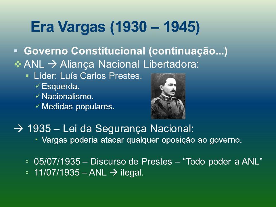 Era Vargas (1930 – 1945) Governo Constitucional (continuação...)