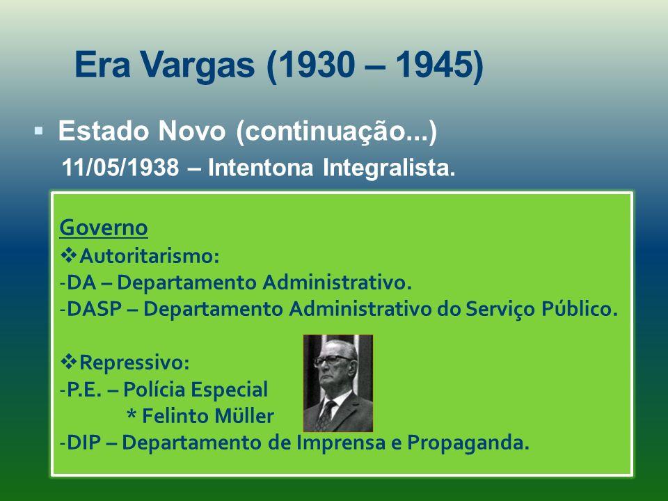 Era Vargas (1930 – 1945) Estado Novo (continuação...)