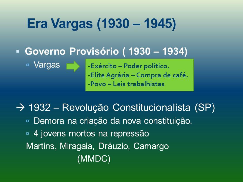 Era Vargas (1930 – 1945) Governo Provisório ( 1930 – 1934)