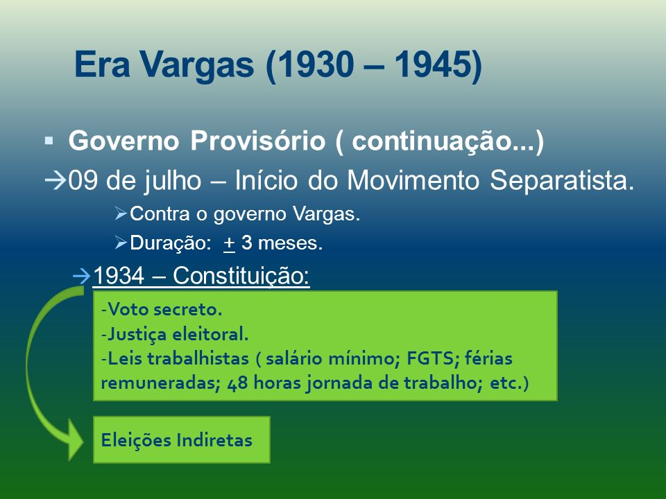 Era Vargas (1930 – 1945) Governo Provisório ( continuação...)