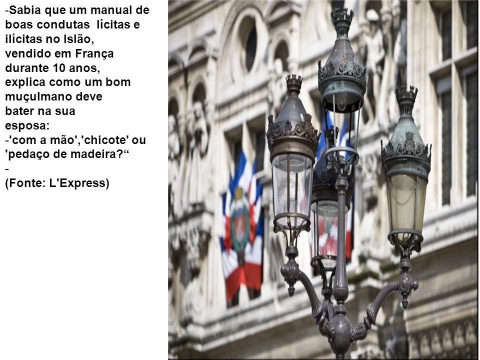 Sabia que um manual de boas condutas lícitas e ilícitas no Islão, vendido em França durante 10 anos,