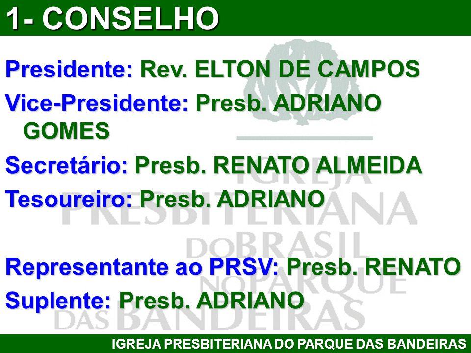 1- CONSELHO Presidente: Rev. ELTON DE CAMPOS