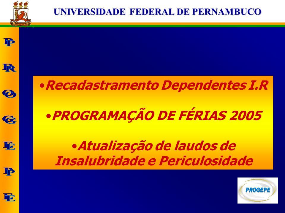 Recadastramento Dependentes I.R PROGRAMAÇÃO DE FÉRIAS 2005