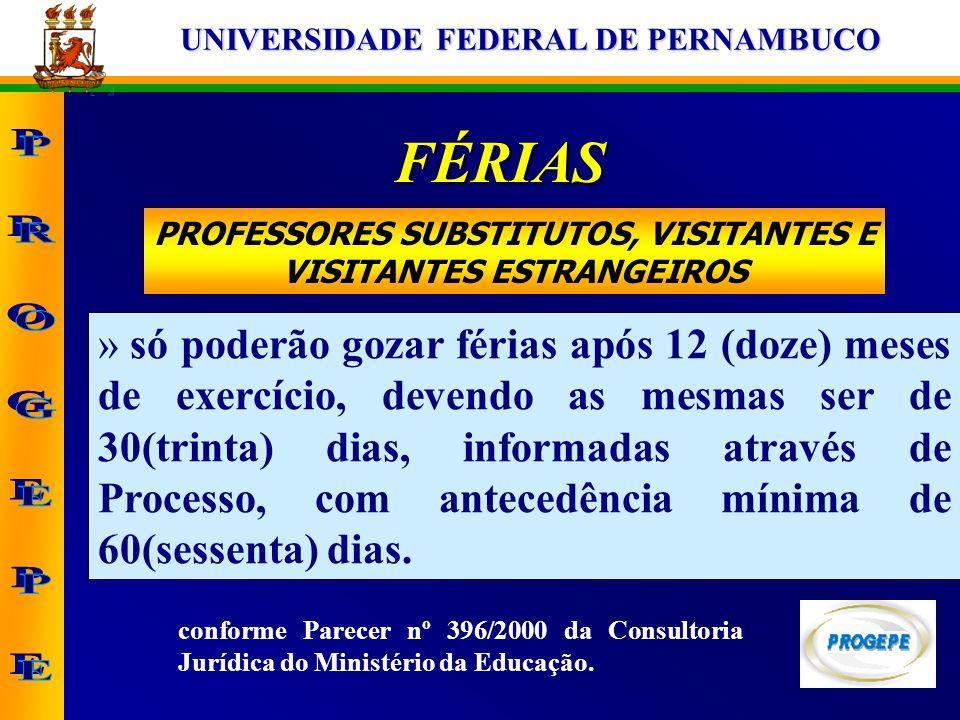 PROFESSORES SUBSTITUTOS, VISITANTES E VISITANTES ESTRANGEIROS