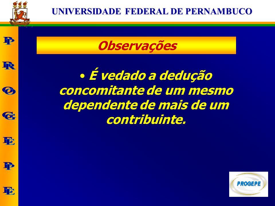 Observações É vedado a dedução concomitante de um mesmo dependente de mais de um contribuinte.