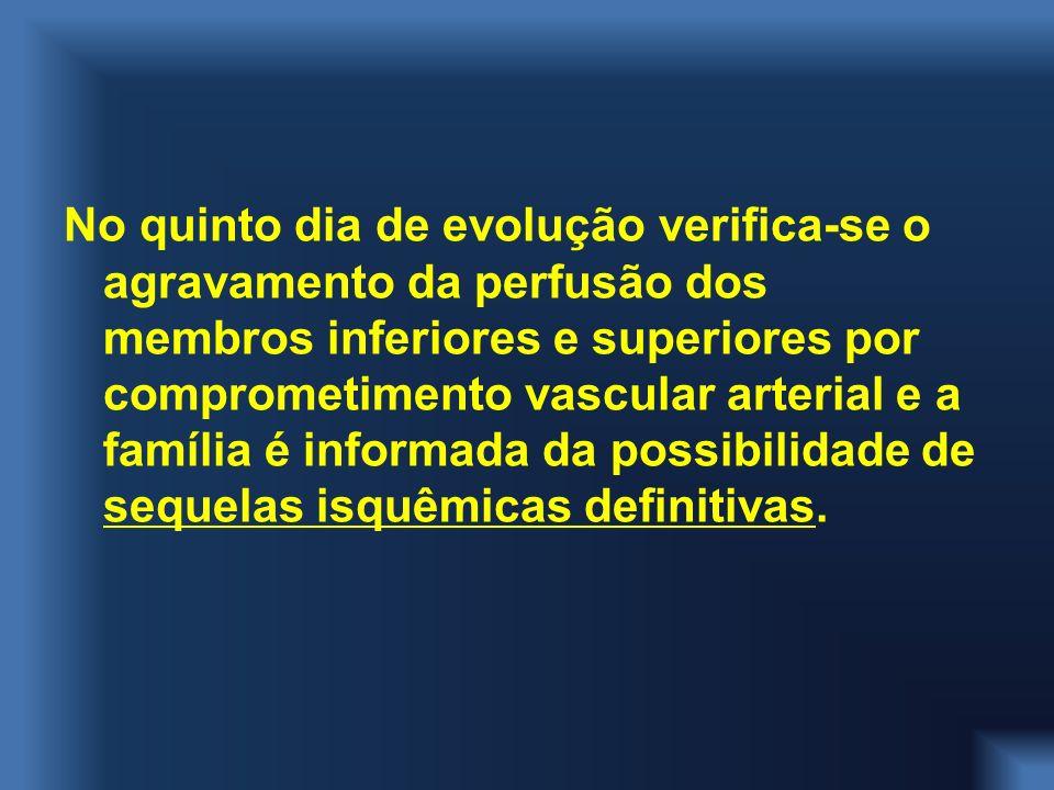 No quinto dia de evolução verifica-se o agravamento da perfusão dos membros inferiores e superiores por comprometimento vascular arterial e a família é informada da possibilidade de sequelas isquêmicas definitivas.