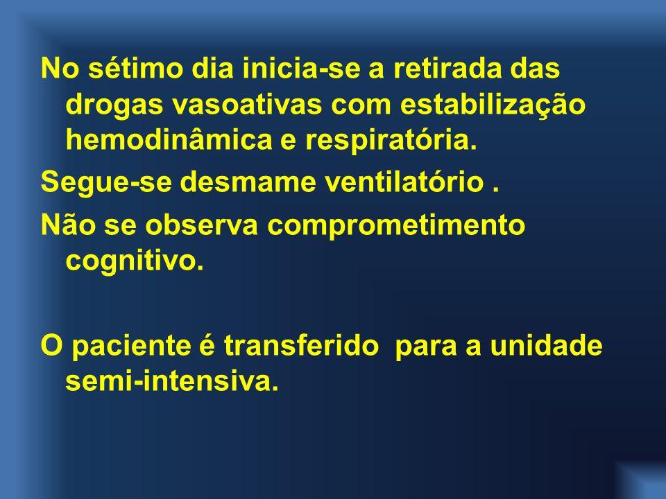 No sétimo dia inicia-se a retirada das drogas vasoativas com estabilização hemodinâmica e respiratória.