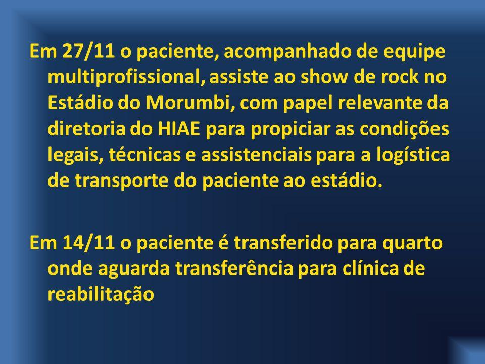 Em 27/11 o paciente, acompanhado de equipe multiprofissional, assiste ao show de rock no Estádio do Morumbi, com papel relevante da diretoria do HIAE para propiciar as condições legais, técnicas e assistenciais para a logística de transporte do paciente ao estádio.
