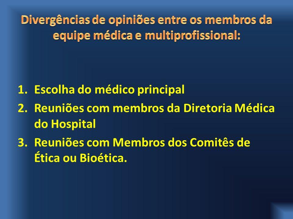 Divergências de opiniões entre os membros da equipe médica e multiprofissional: