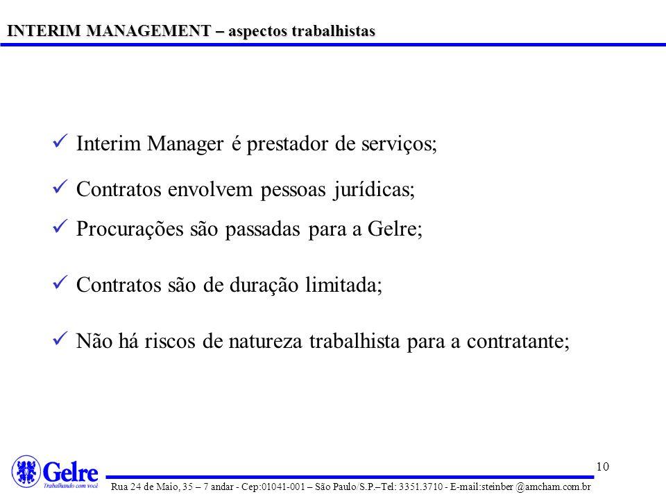 Interim Manager é prestador de serviços;