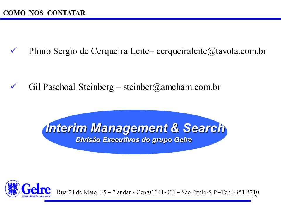 Interim Management & Search Divisão Executivos do grupo Gelre