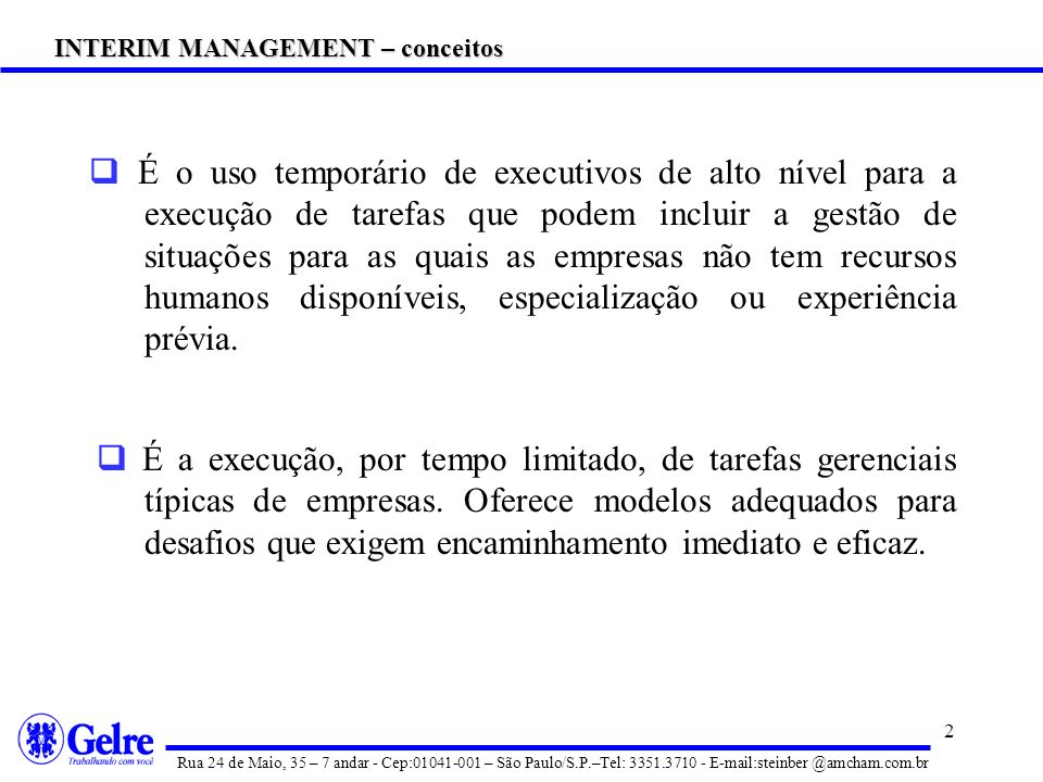 INTERIM MANAGEMENT – conceitos