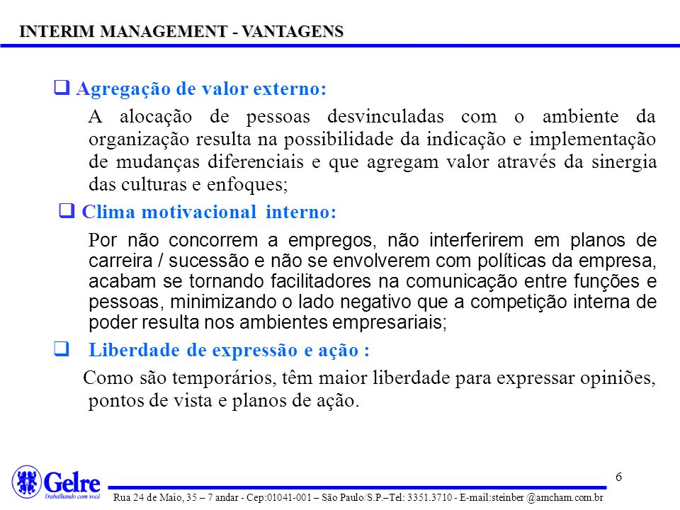 INTERIM MANAGEMENT - VANTAGENS