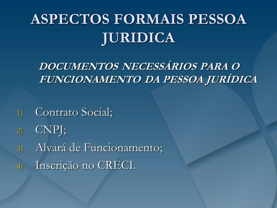 ASPECTOS FORMAIS PESSOA JURIDICA