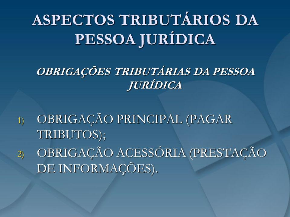 ASPECTOS TRIBUTÁRIOS DA PESSOA JURÍDICA