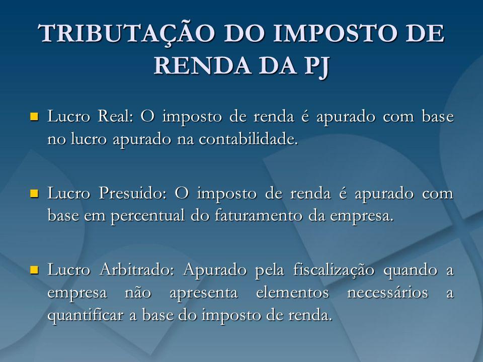 TRIBUTAÇÃO DO IMPOSTO DE RENDA DA PJ