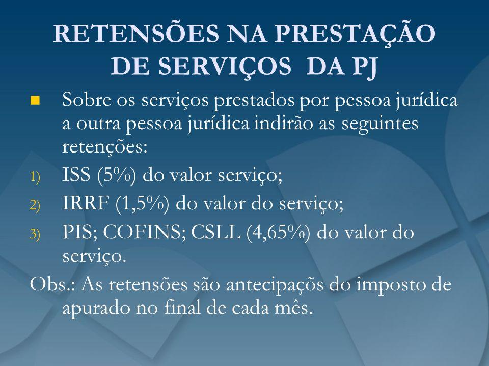 RETENSÕES NA PRESTAÇÃO DE SERVIÇOS DA PJ