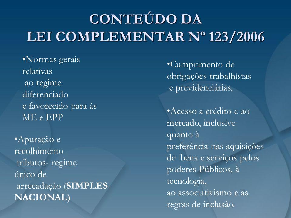 CONTEÚDO DA LEI COMPLEMENTAR Nº 123/2006