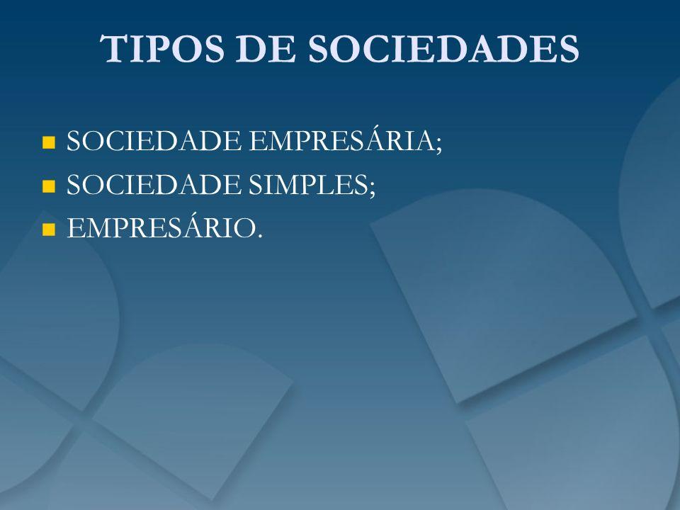 TIPOS DE SOCIEDADES SOCIEDADE EMPRESÁRIA; SOCIEDADE SIMPLES;