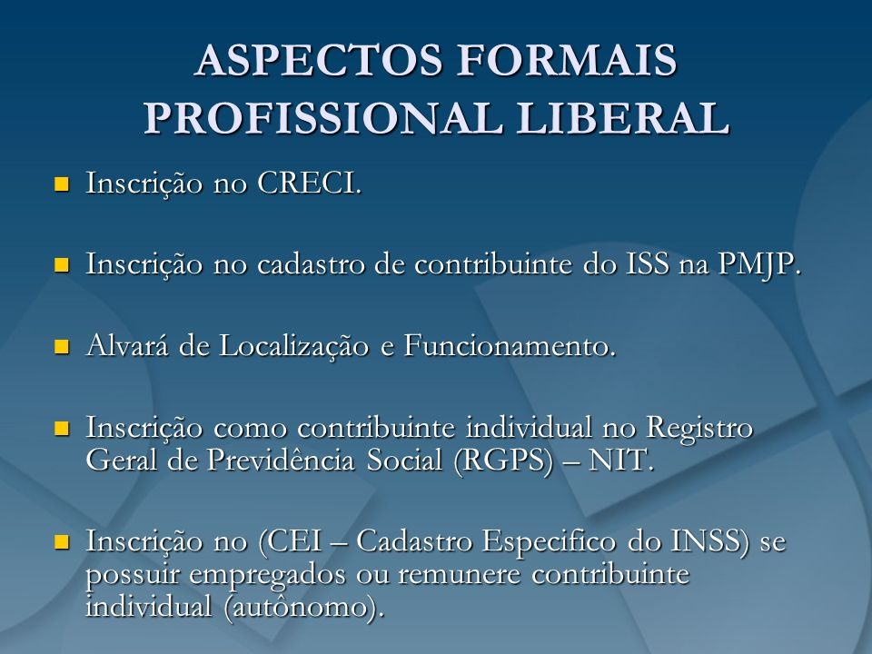 ASPECTOS FORMAIS PROFISSIONAL LIBERAL