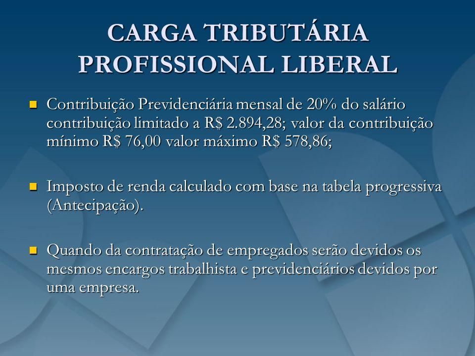 CARGA TRIBUTÁRIA PROFISSIONAL LIBERAL