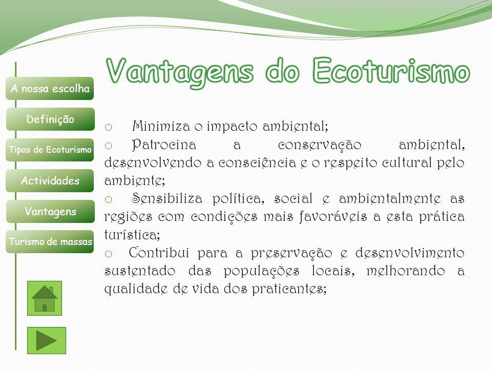 Vantagens do Ecoturismo