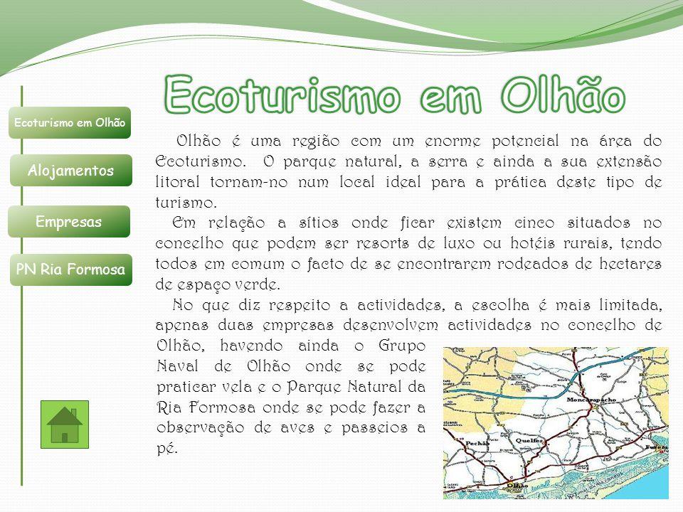 Ecoturismo em Olhão Ecoturismo em Olhão. Alojamentos. Empresas. PN Ria Formosa.