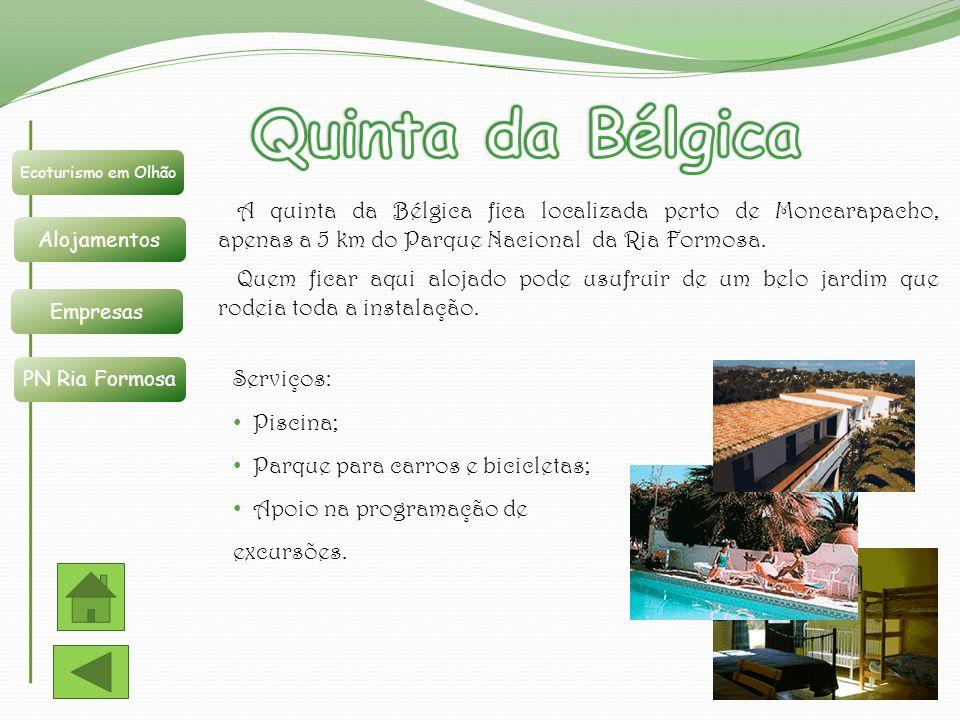 Quinta da Bélgica Ecoturismo em Olhão. Alojamentos. Empresas. PN Ria Formosa.