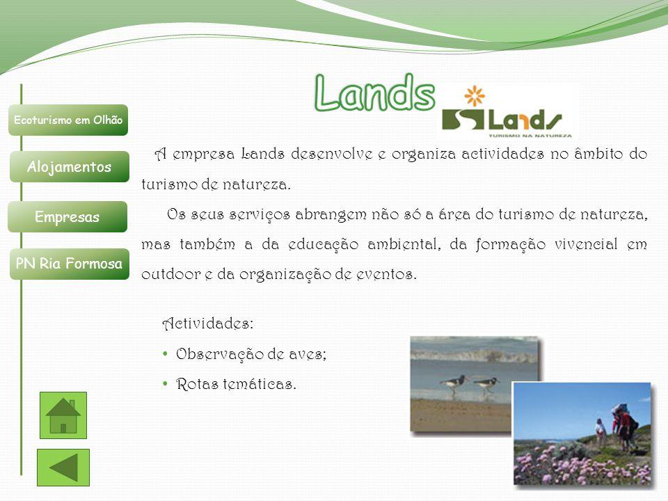 Lands Ecoturismo em Olhão. Alojamentos. Empresas. PN Ria Formosa.