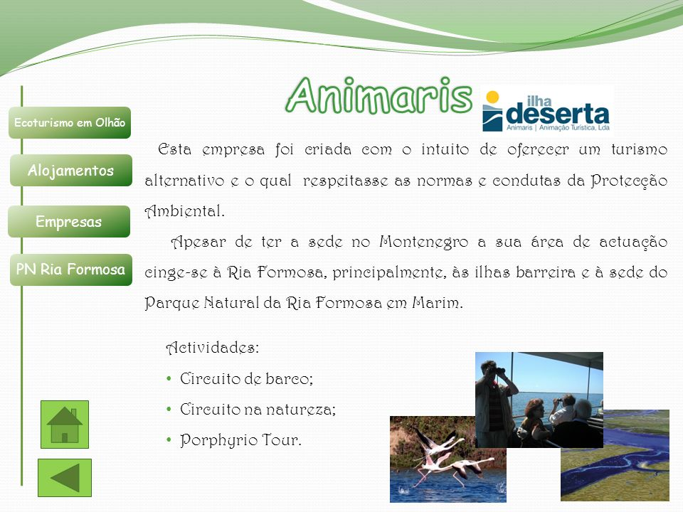 Animaris Ecoturismo em Olhão. Alojamentos. Empresas. PN Ria Formosa.
