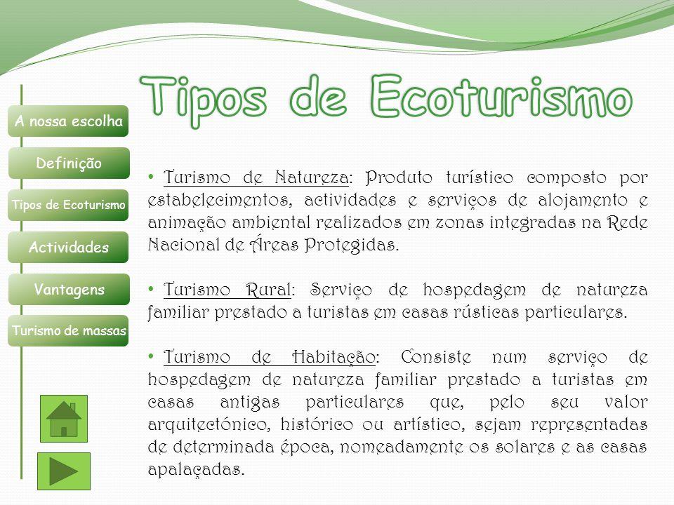 Tipos de Ecoturismo Definição. A nossa escolha. Tipos de Ecoturismo. Actividades. Vantagens. Turismo de massas.