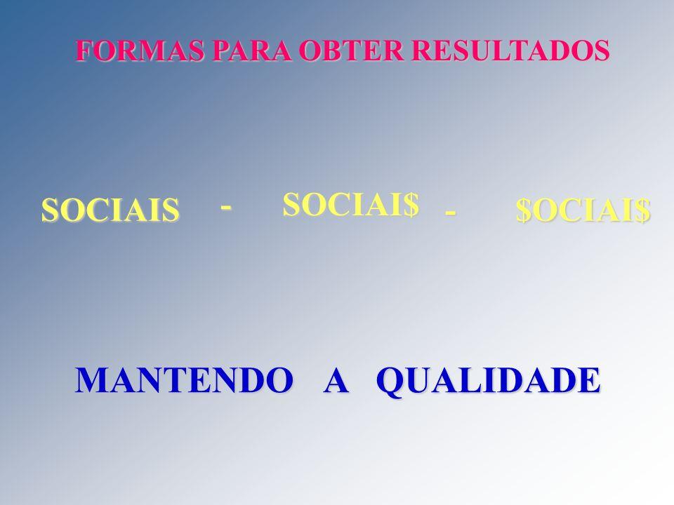 MANTENDO A QUALIDADE - SOCIAI$ SOCIAIS - $OCIAI$