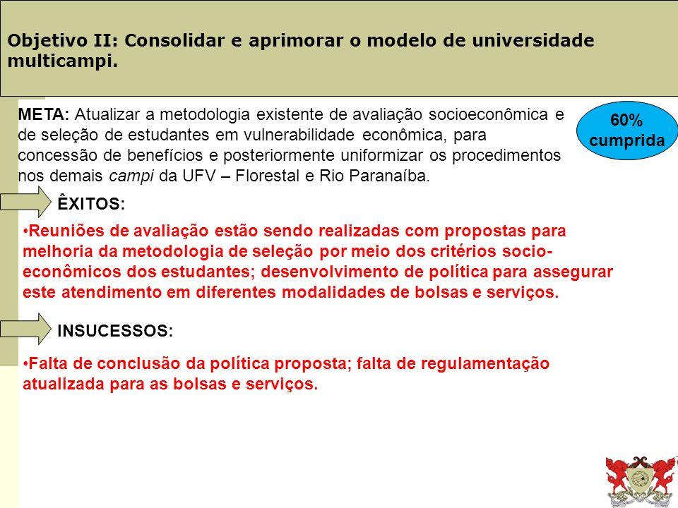 Obj. 19: PINGIFES Objetivo II: Consolidar e aprimorar o modelo de universidade multicampi.