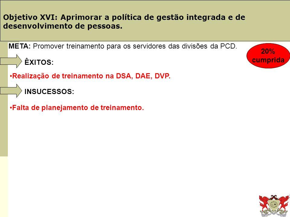 Obj. 19: Telefônica Objetivo XVI: Aprimorar a política de gestão integrada e de desenvolvimento de pessoas.