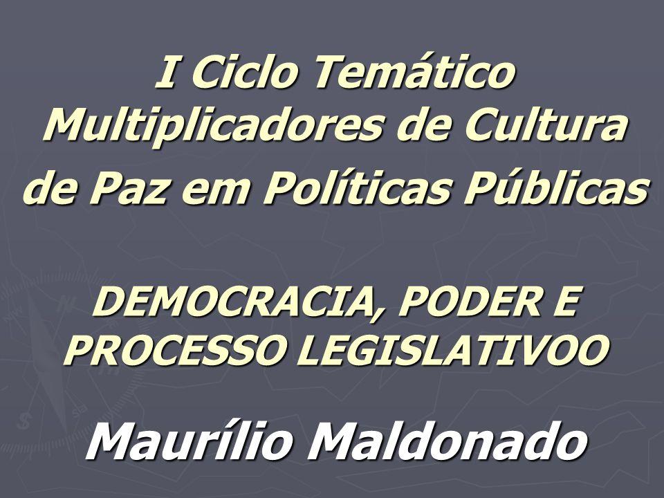 I Ciclo Temático Multiplicadores de Cultura de Paz em Políticas Públicas DEMOCRACIA, PODER E PROCESSO LEGISLATIVOO