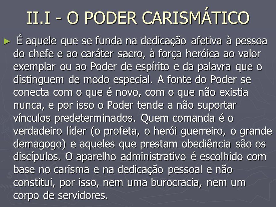 II.I - O PODER CARISMÁTICO