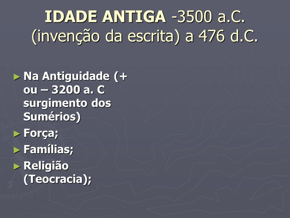 IDADE ANTIGA -3500 a.C. (invenção da escrita) a 476 d.C.