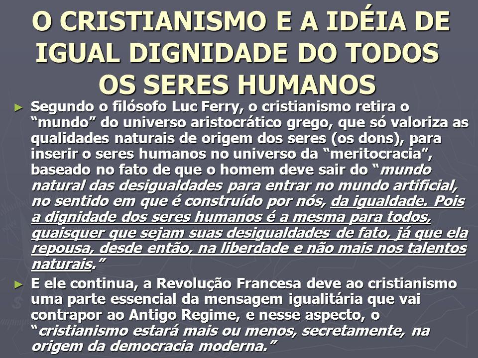 O CRISTIANISMO E A IDÉIA DE IGUAL DIGNIDADE DO TODOS OS SERES HUMANOS