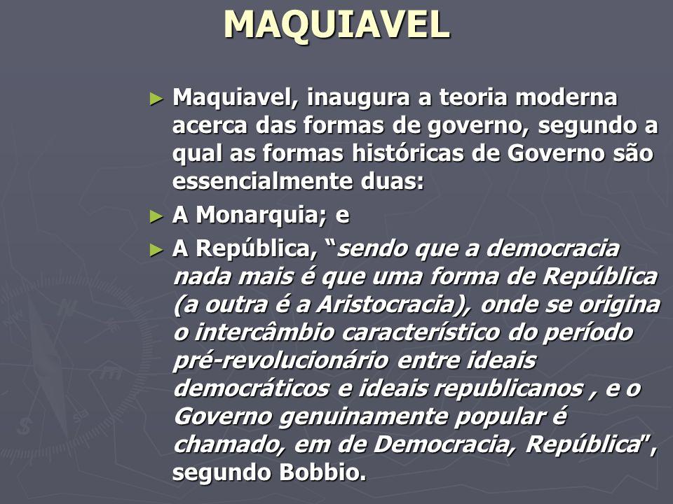 MAQUIAVEL Maquiavel, inaugura a teoria moderna acerca das formas de governo, segundo a qual as formas históricas de Governo são essencialmente duas:
