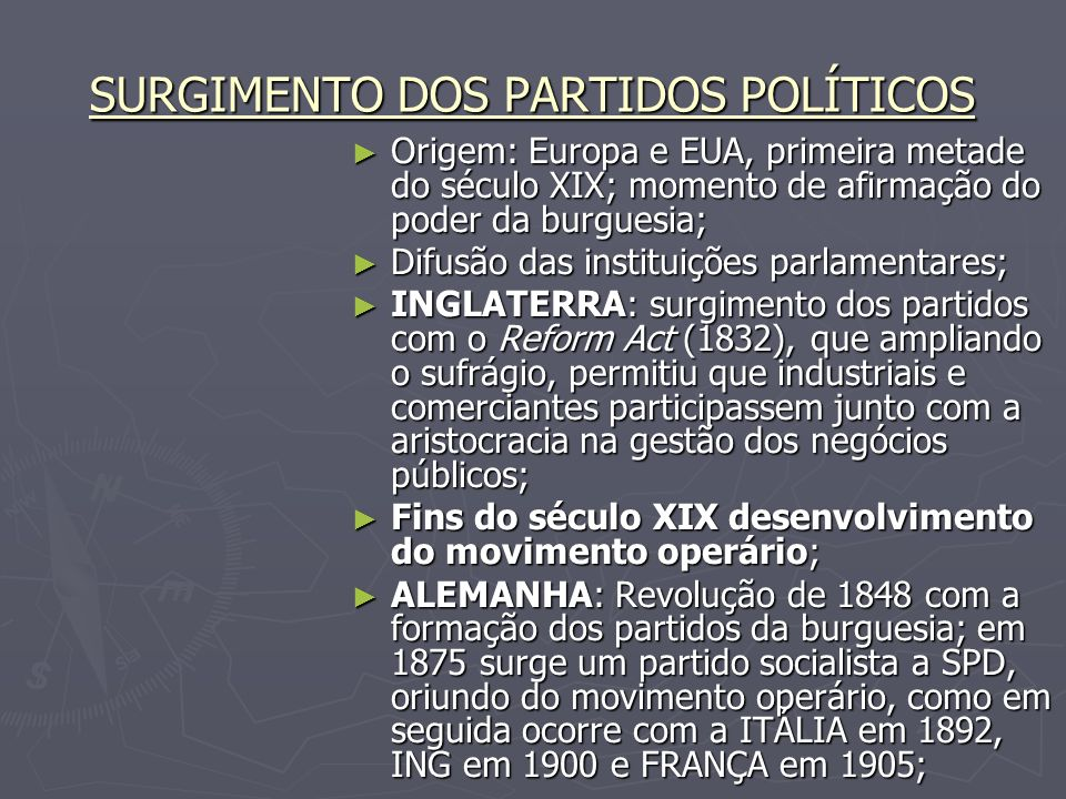 SURGIMENTO DOS PARTIDOS POLÍTICOS