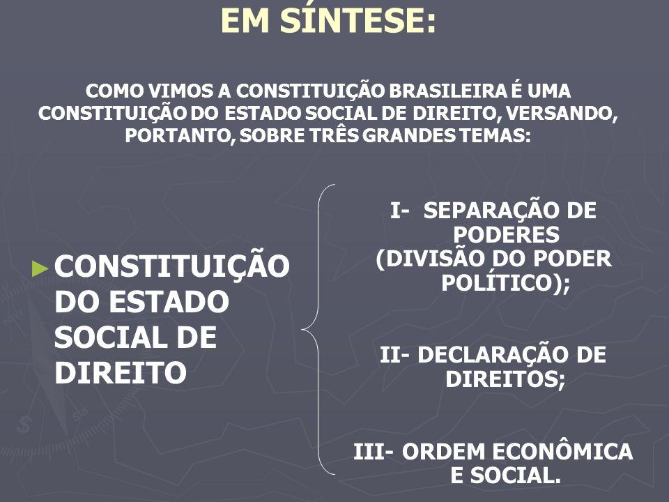EM SÍNTESE: COMO VIMOS A CONSTITUIÇÃO BRASILEIRA É UMA CONSTITUIÇÃO DO ESTADO SOCIAL DE DIREITO, VERSANDO, PORTANTO, SOBRE TRÊS GRANDES TEMAS: